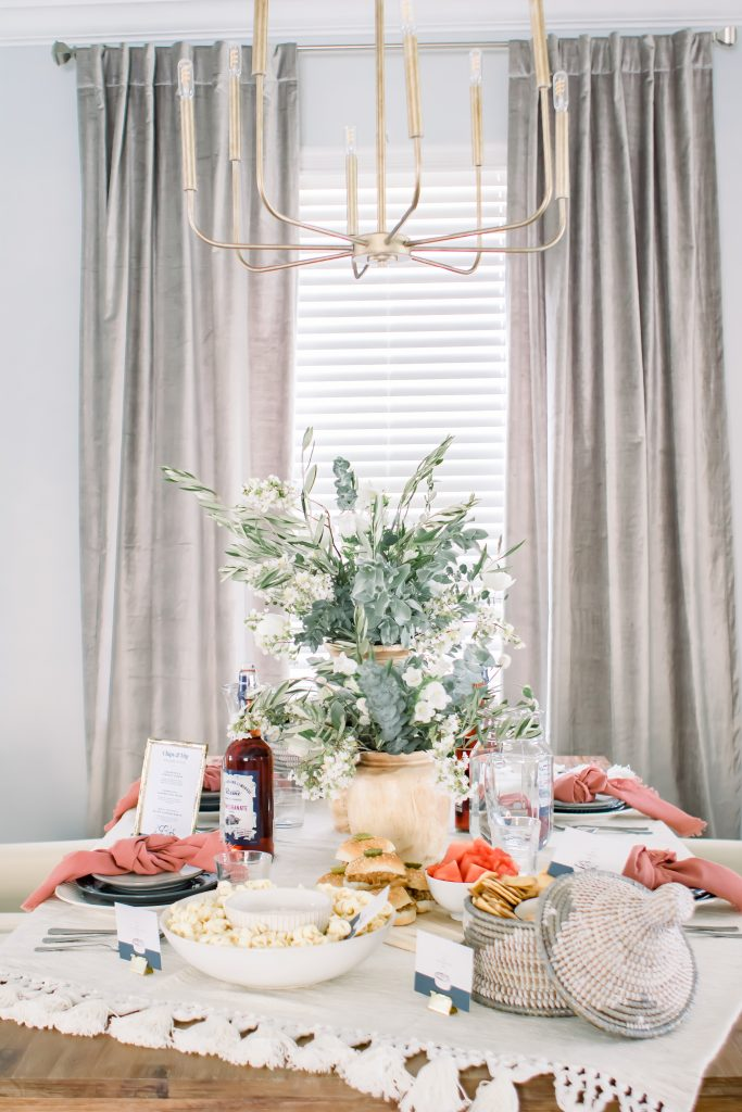 Sophisticated Labor Day tablescape with Labor Day food ideas and decor