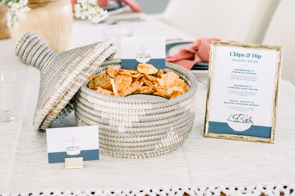 Labor Day chips and dip pairing party printables set on table