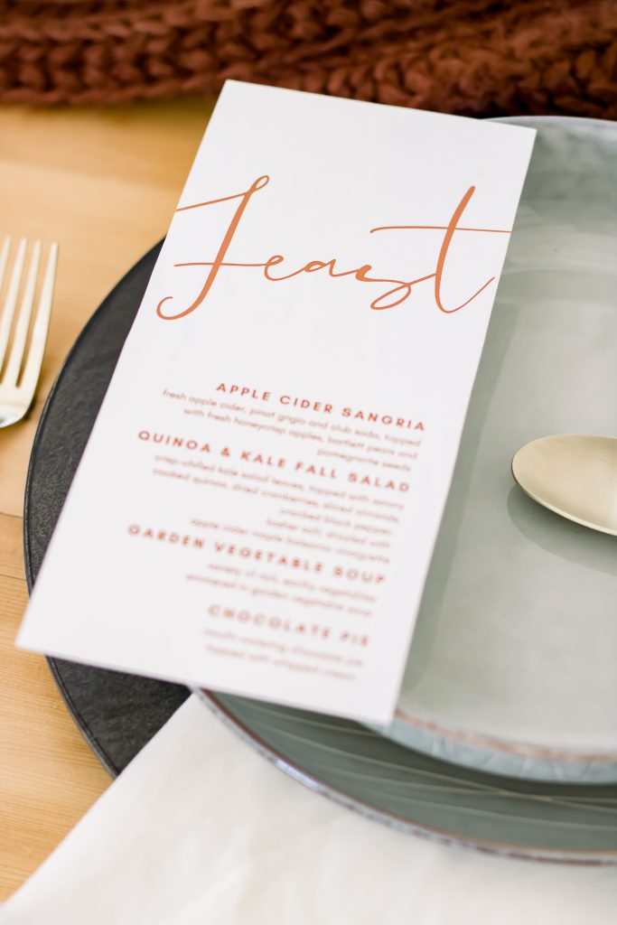 Fall feast printable menu for an intimate Fall tablescape