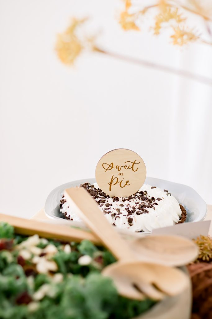 Sweet as pie wooden pie topper on chocolate pie
