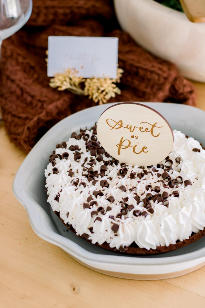 wooden sweet as pie topper on chocolate pie recipe
