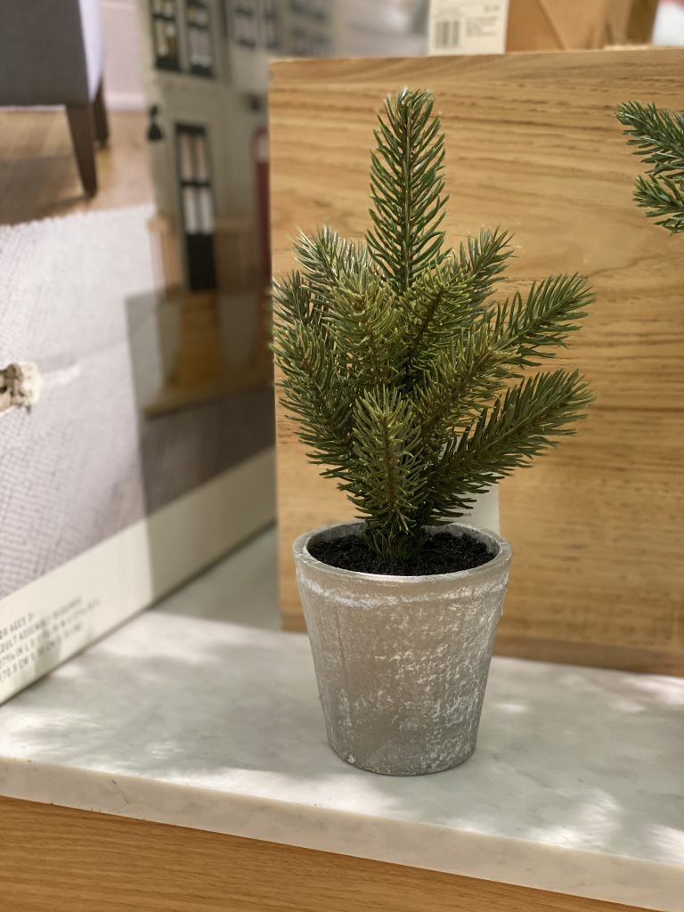 faux pine trees from Hearth and Hand