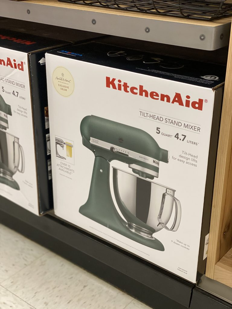 kitchen aid and hearth and hand matte green mixer