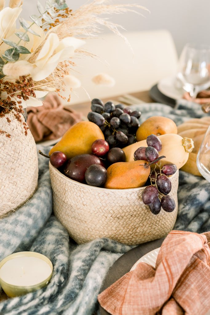 bowl of fruit on thanksgiving tablescape