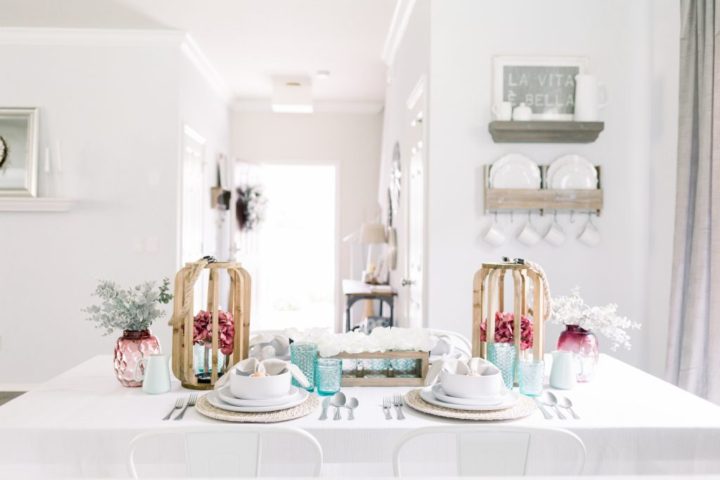 Light and neutral Easter tablescape