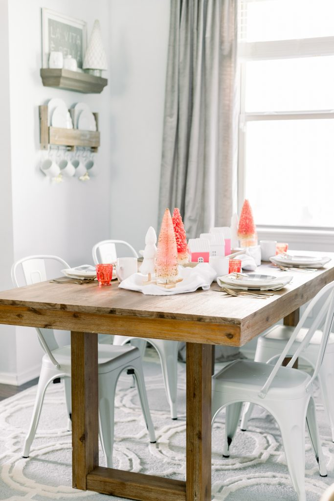 Bright pink and white Christmas tablescape
