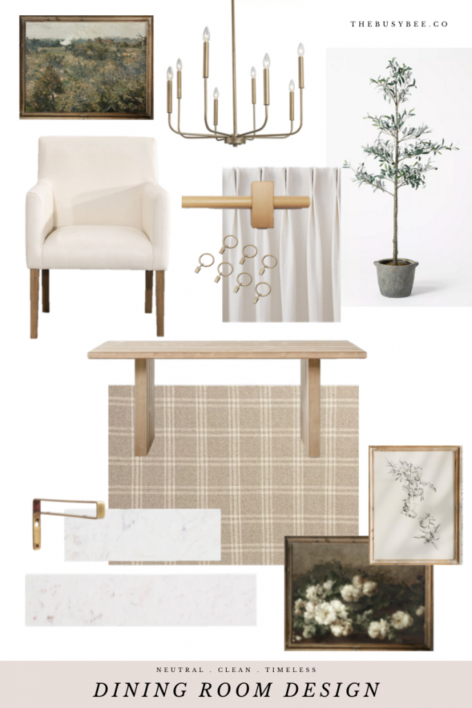 Neutral and clean dining room design board