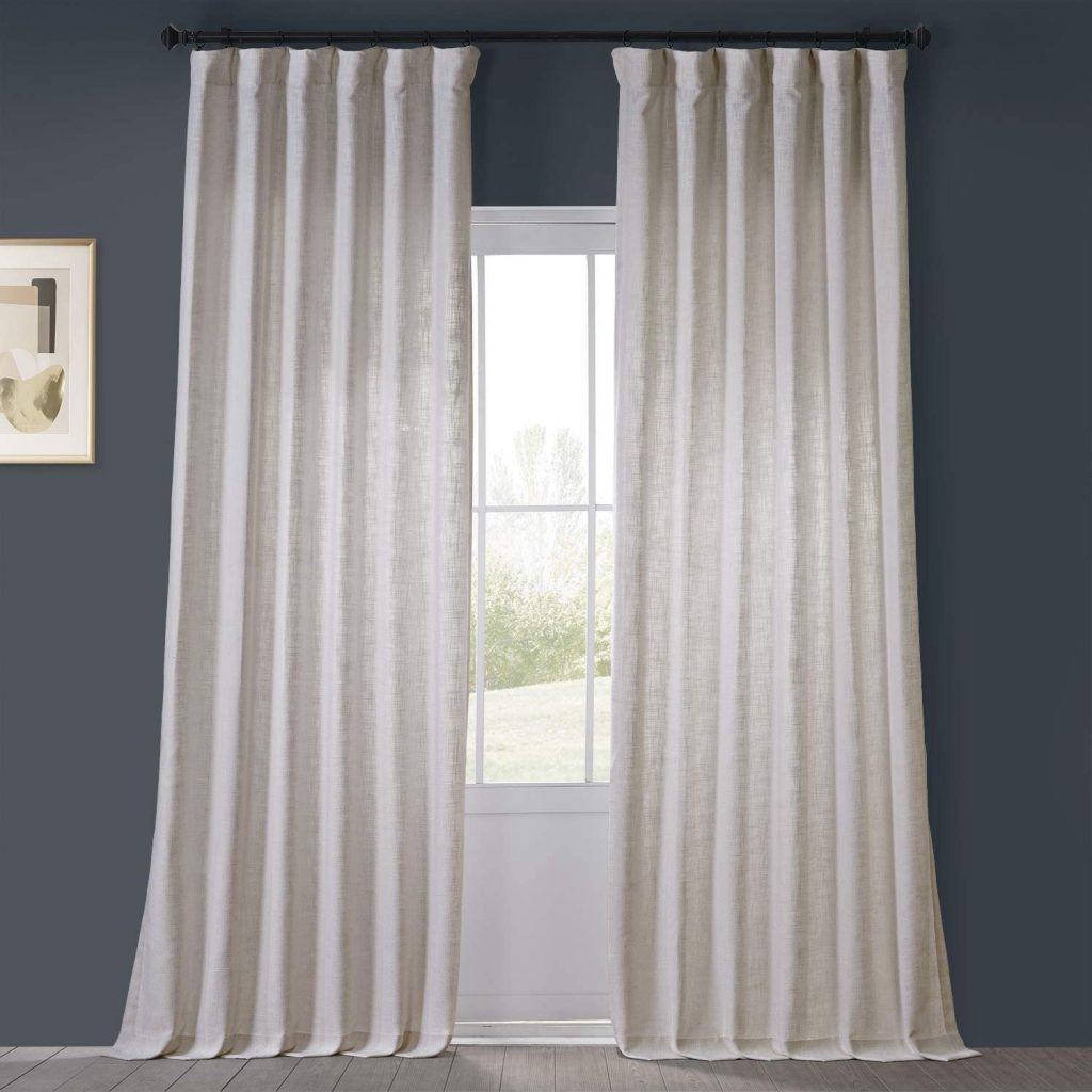 Rice white faux linen curtains