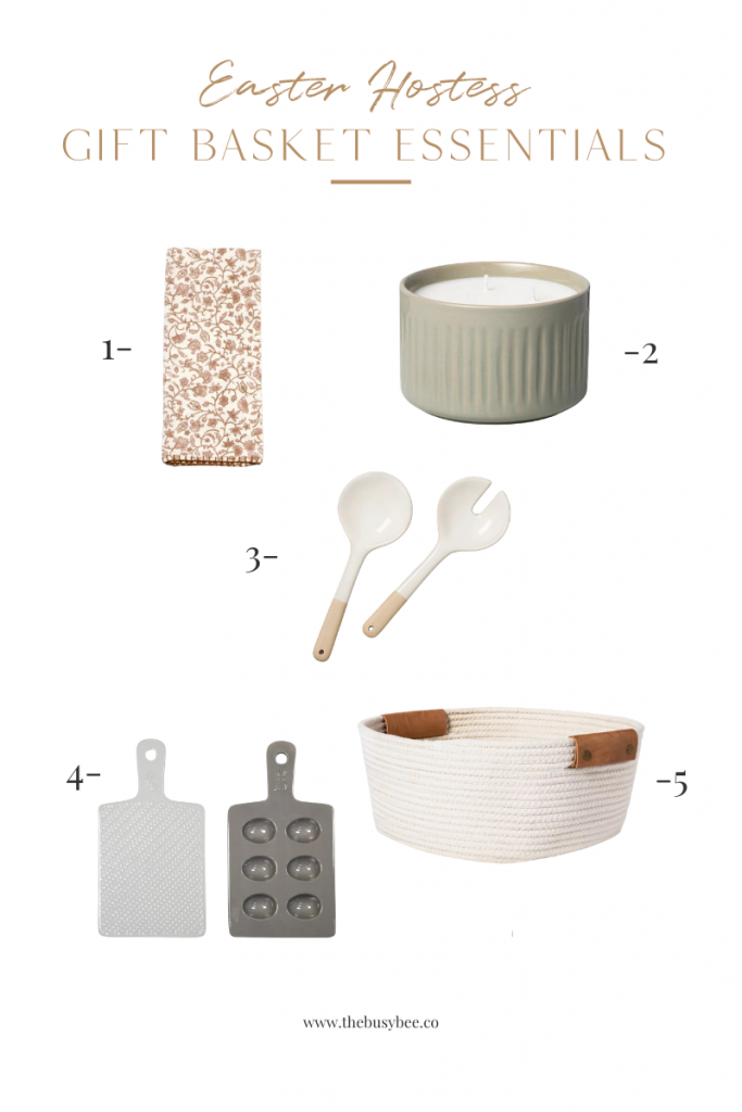 household items, such as serving spoon, candle, towel, basket, and tray