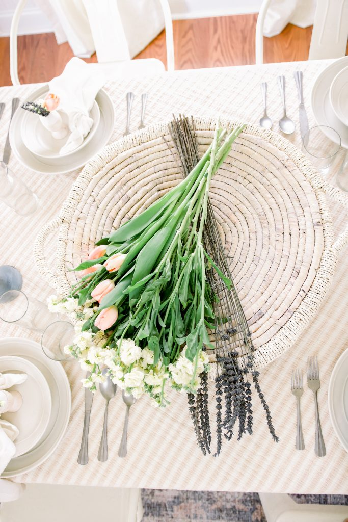 flowers as centerpiece on dining room table