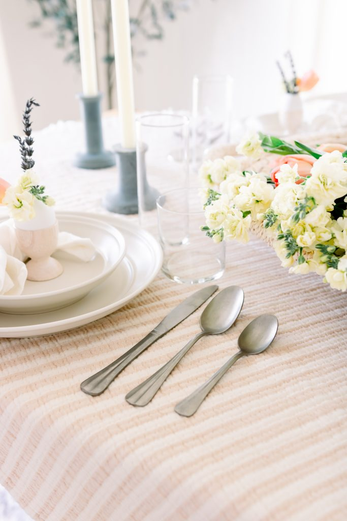 Target dinnerware and flatware for an Easter Tablescape