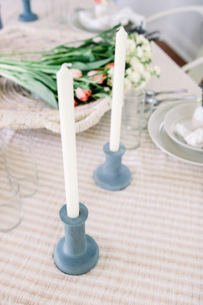 stone taper candle holders