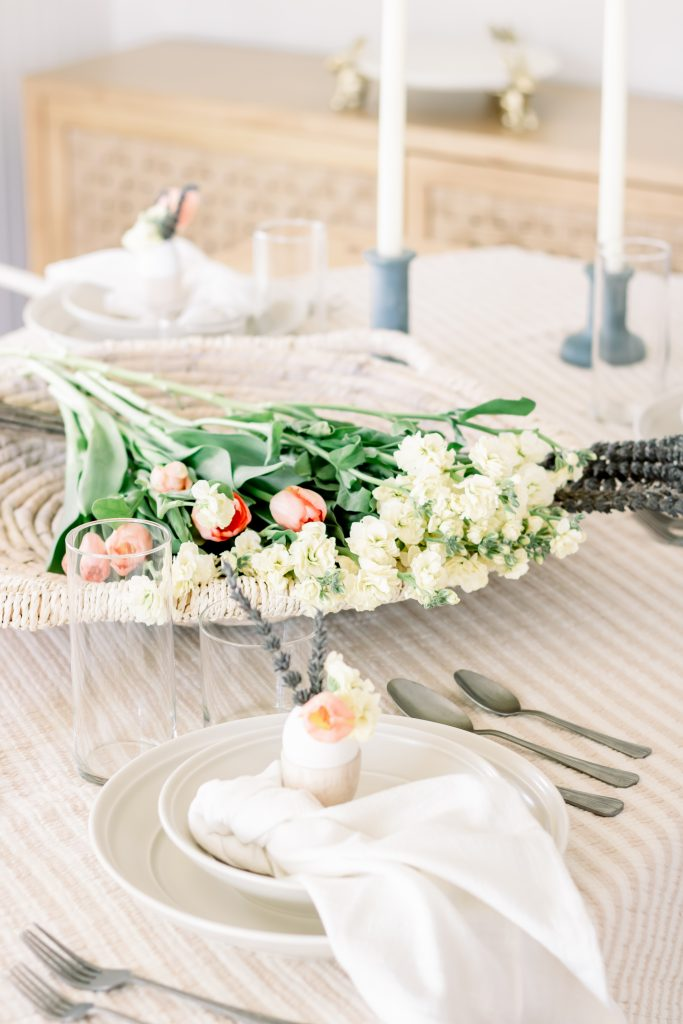 deconstructed flower centerpiece for an Easter tablescape