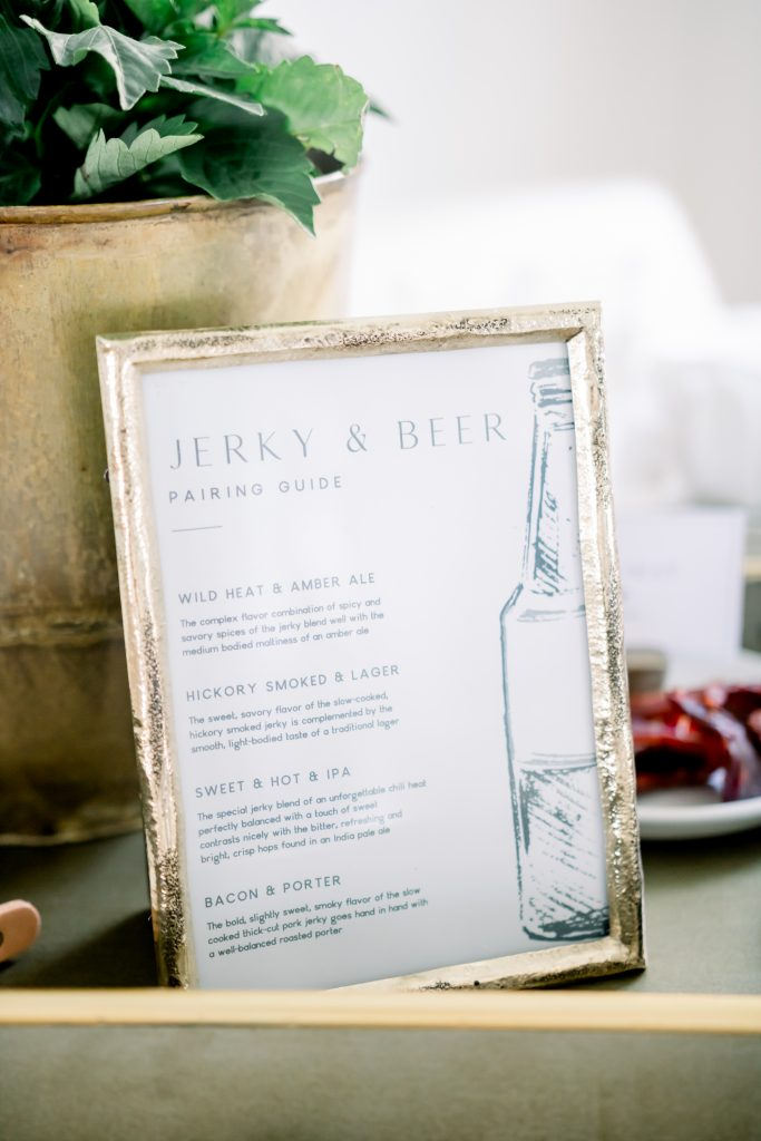 jerky and beer pairing party tasting guide in antique brass photo frame