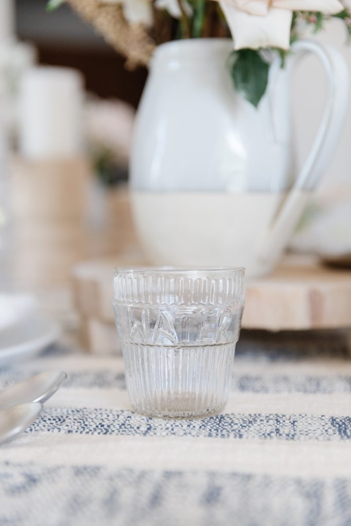 glassware on a dining room table