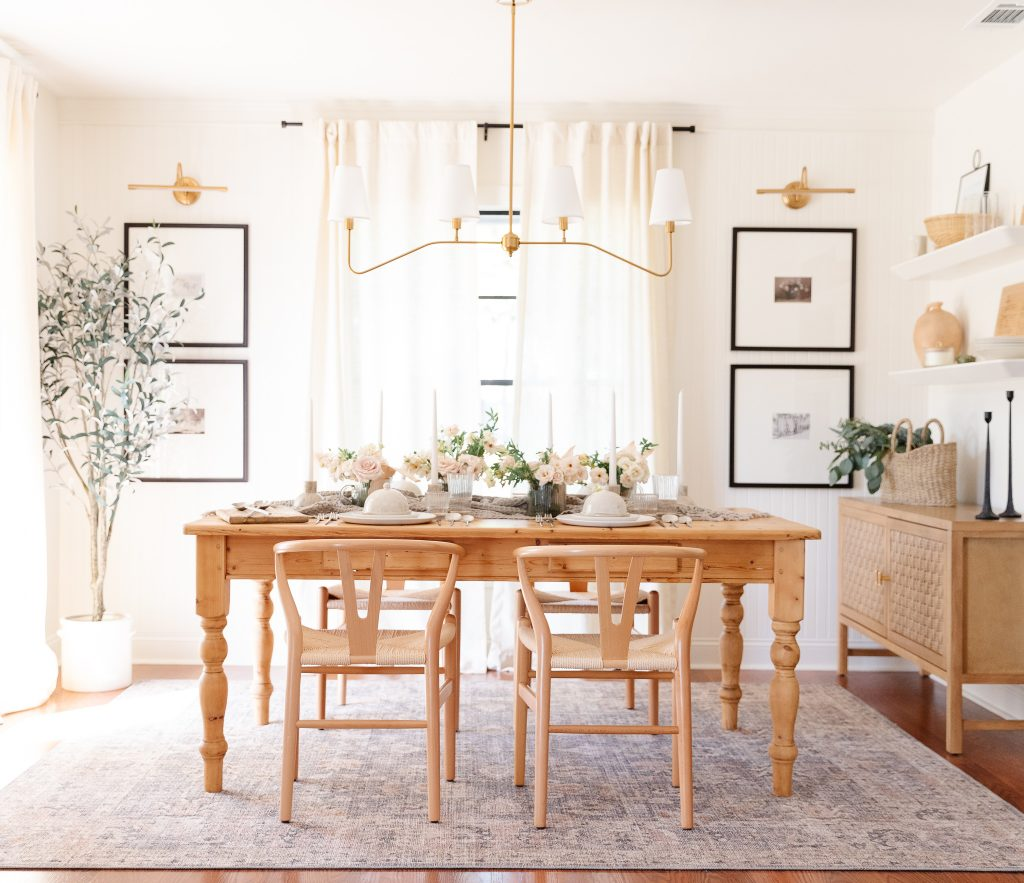 dining room table with table setting