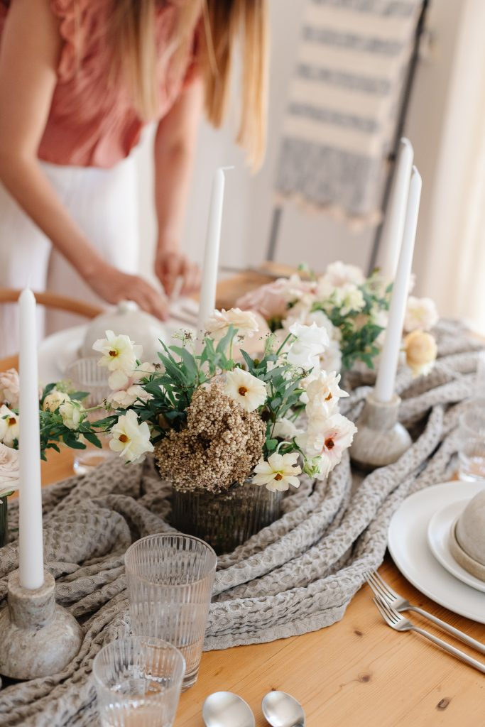 floral and candle centerpiece