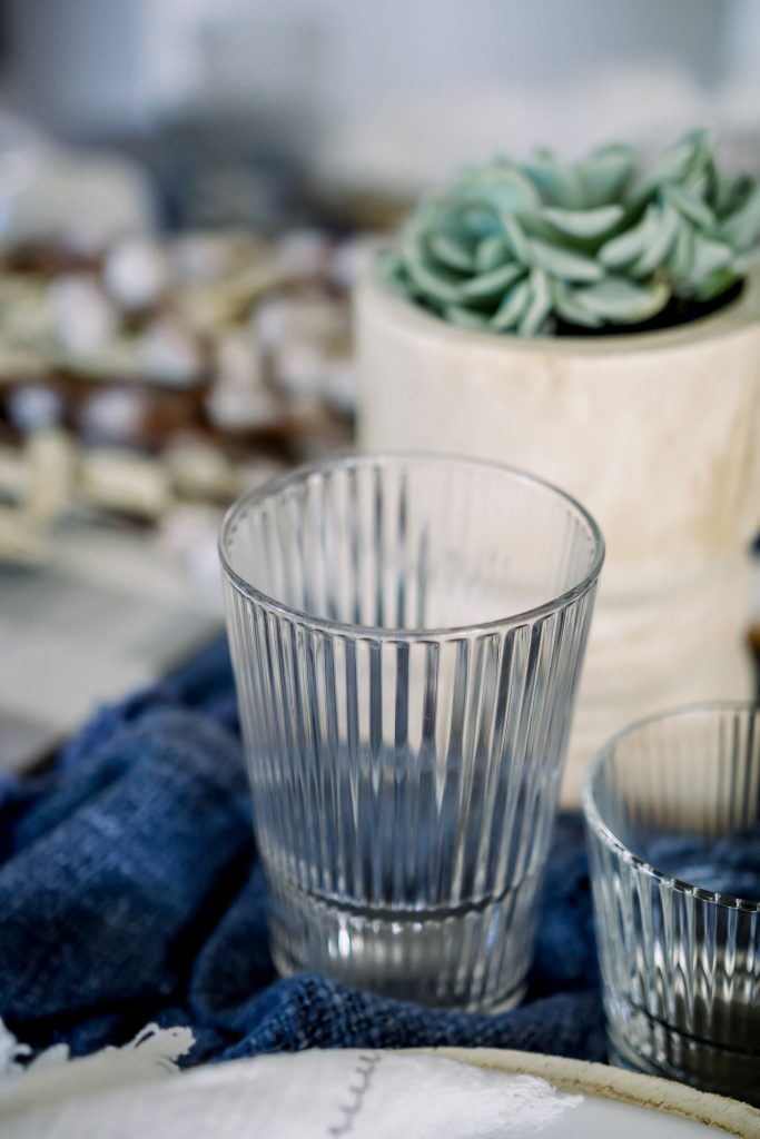 fluted tumblers on dining room table