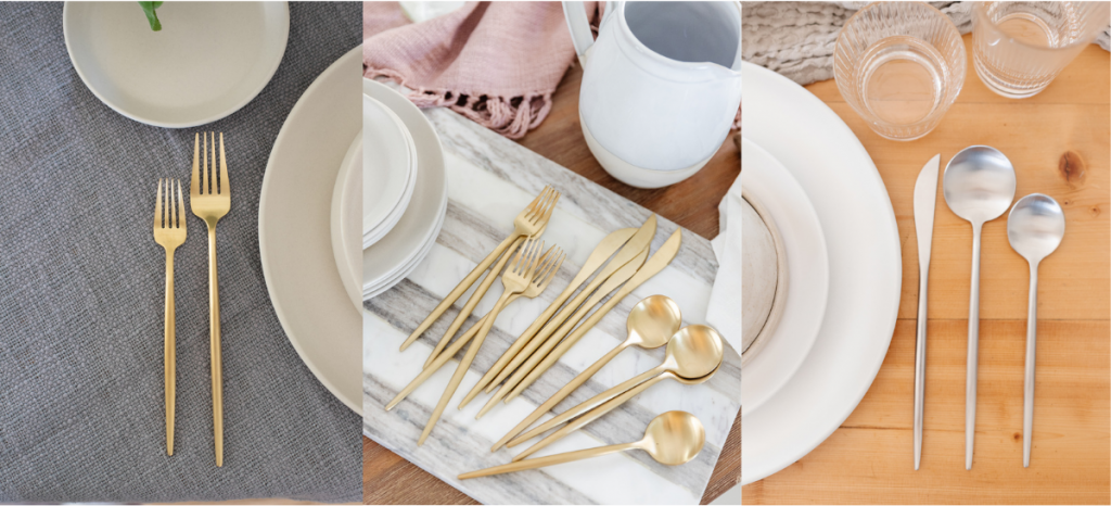 accenting brushed gold and silver flatware