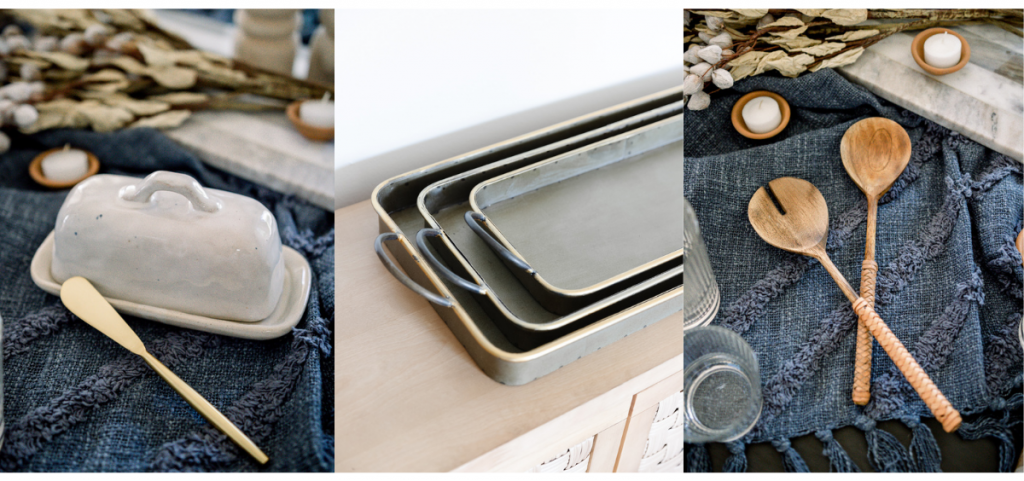 butter dish, serving trays and wooden salad servers