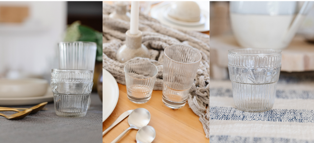 clear glass and ribbed drinkware