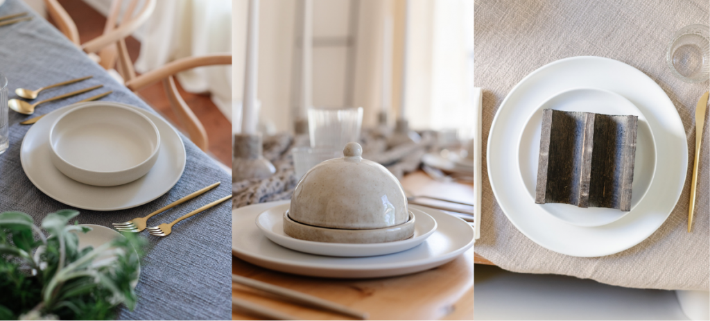 layered dinnerware on dining room table