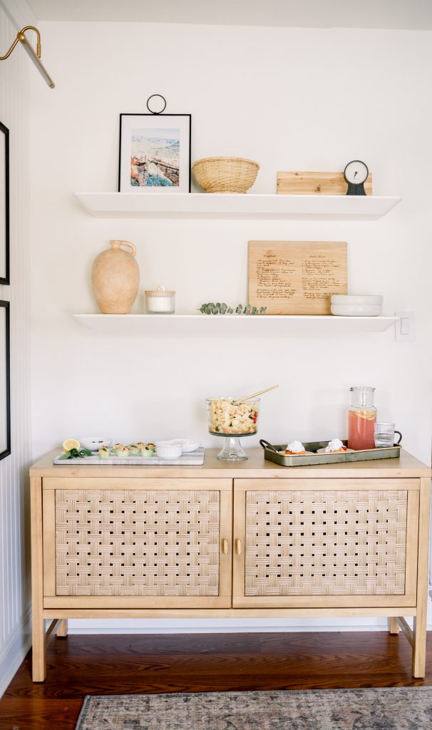 summer soiree recipes on a sideboard