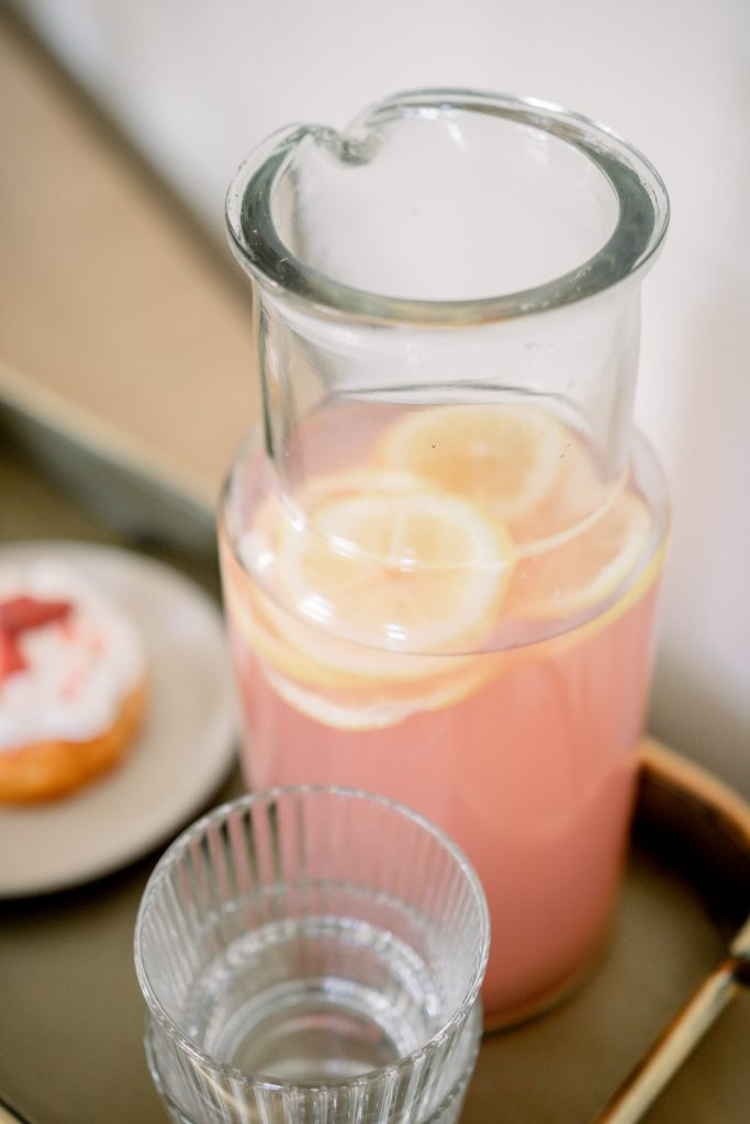 old-fashioned pink lemonade on galvanized metal tray