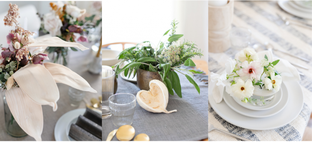 various types of greenery added to tablescapes for designer-level styling