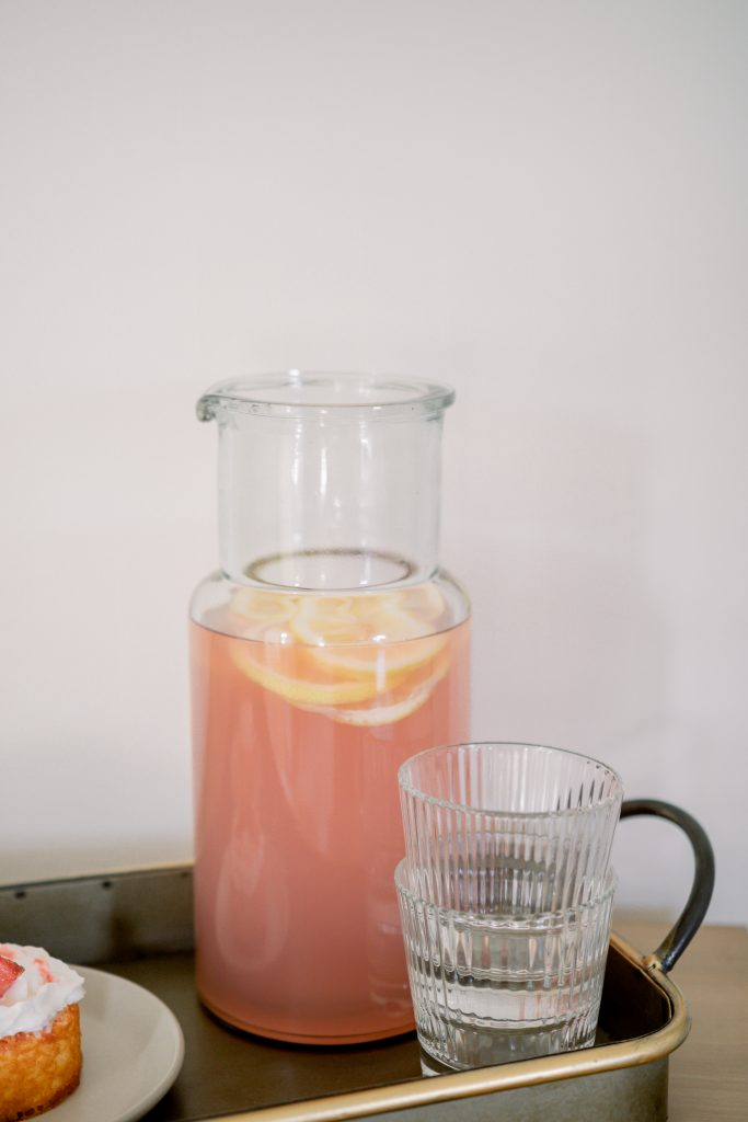 pink lemonade in clear colin carafe