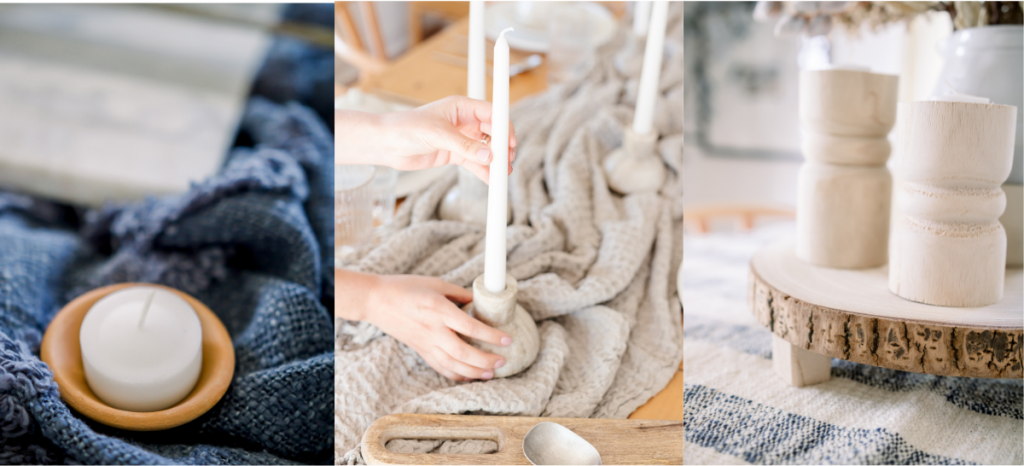 warmth elements of textural throws and candles