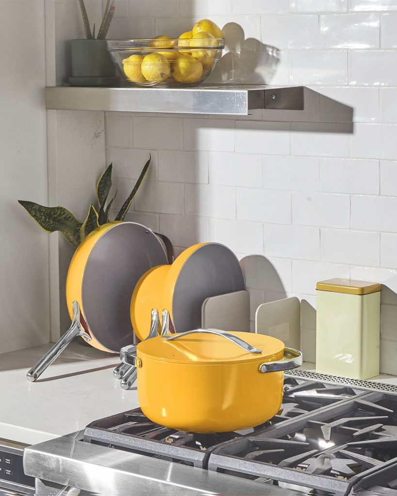 Caraway Home Cookware Sets in Marigold for Healthier Kitchens