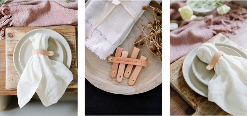 dinner napkins styled with natural leather napkin ring