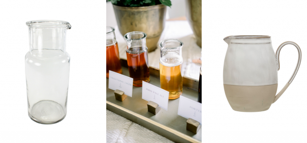 clear glass pitcher, small clear glass pitchers with assorted beer, two-toned stoneware pitcher