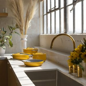 Caraway Home cookware set in Marigold; healthier kitchens