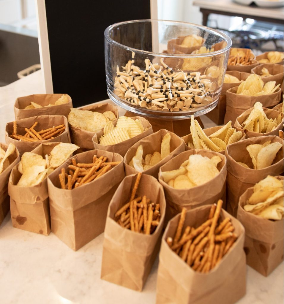pretzels and potato chips in brown bags for kid-friendly food ideas