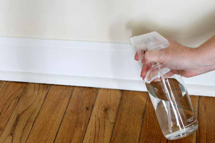 a woman cleaning home by spraying cleaner on white baseboards