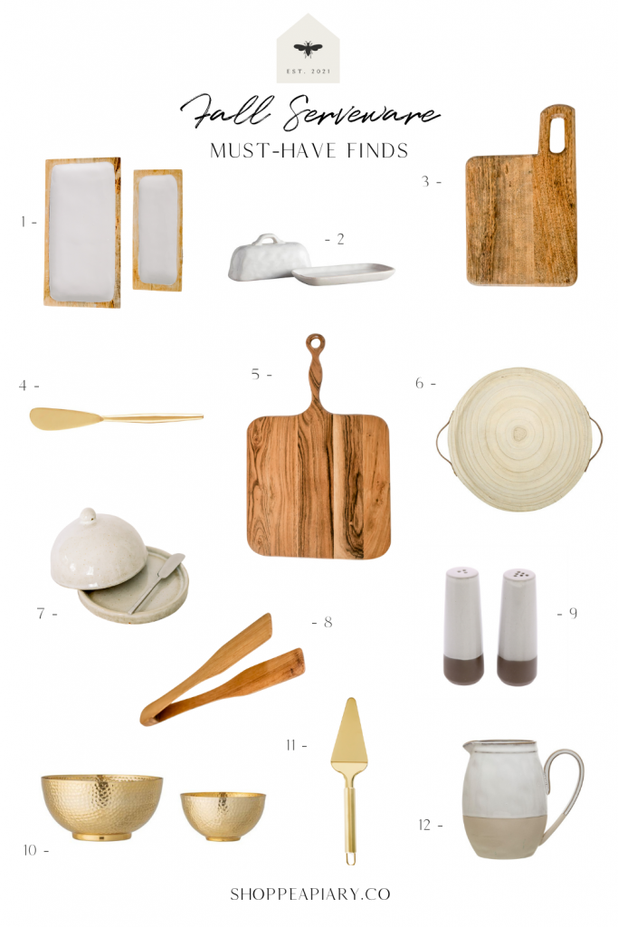 apiary fall serveware finds; pitcher; serving bowls; serving utensils; charcuterie boards
