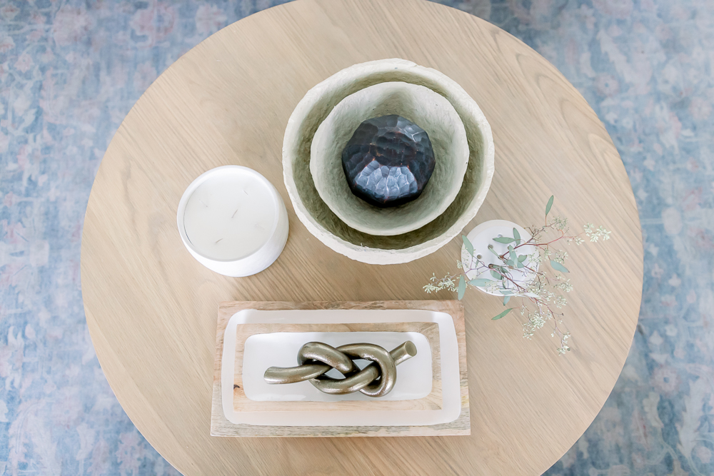 seasonal accents on coffee table; summer to fall decor swaps